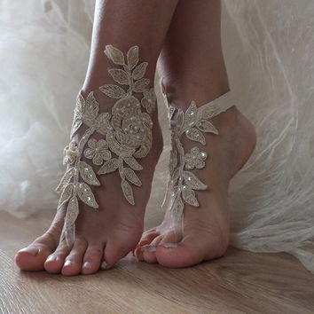 champagne Beach wedding barefoot sandals