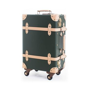 Retro cabin trolley rolling spinner women carry on travel suitcases
