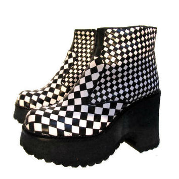 Vintage Black & White Leather Checkerboard by Atomicfireball