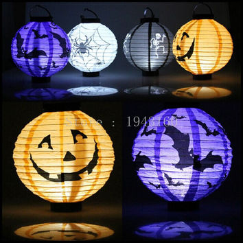 1 Pcs Halloween Decoration LED Paper Pumpkin Light Hanging Lantern Lamp Halloween Props Outdoor Party Supplies