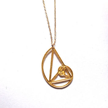 Golden Spiral Golden Triangle Necklace Fibonacci Golden Ratio Grid Gold Plated Pendant Golden Phi Gold Filled Necklace Sterling Silver
