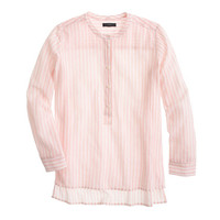 J.Crew Womens Petite Collarless Popover Shirt In Bengal Stripe