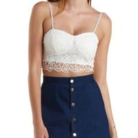 White Floral Crochet Bustier Crop Top by Charlotte Russe
