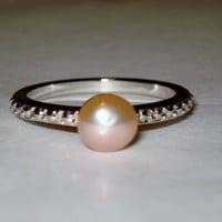 Champagne Freshwater Pearl 6-6.5mm Ring - Size 8 - FREE shipping!