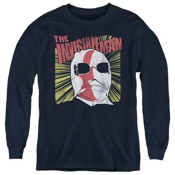 The Invisible Man Kids Long Sleeve Shirt Vintage Portrait Navy Tee