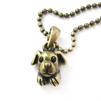 Puppy Dog Adorable Animal Charm Necklace in Brass | Animal Jewelry