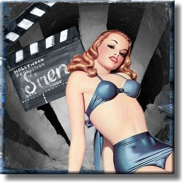 Vintage Hollywood Pin Up Girl Picture on Stretched Canvas, Wall Art Décor, Ready to Hang