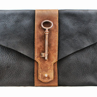 Two Tone Black and Brown Leather Clutch with Skeleton Key Accent