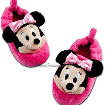 Licensed cool CUTE NEW Disney Store Minnie Mouse Girls SLIPPERS House Shoes Pink 9/10 & 11/12