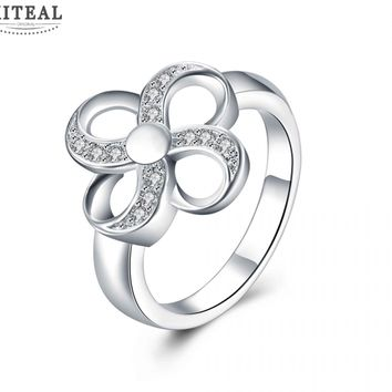 Silver Plated Clover Ring With Cubic Zirconia Flash Diamonds