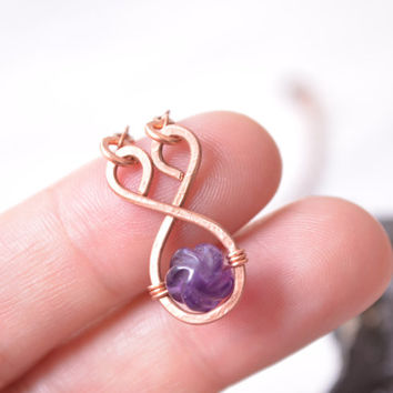 Wire Wrapped Amethyst Pendant // Copper Necklace // Bohemian Wire Wrapped Necklace