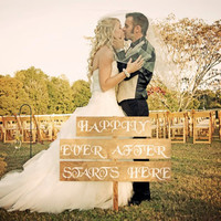 Happily Ever After Starts Here Customized Wedding Sign - Shabby Chic Rustic Style Wedding - Wedding Decoration - Rustic Wedding Signage