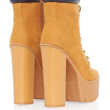 Bumper Rocker10 Modern Construction Platform Boot - Wheat from Bumper Shoes at ShopRoxx.com