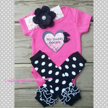 My Daddy Rocks Father's Day Baby Girl Outfit - Black and Hot Pink Onesuit - Headband - Photo Prop - Infant Onesuit - Rockstar - Guitar - Pink