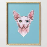 Sphynx cat portrait Serving Tray by savousepate