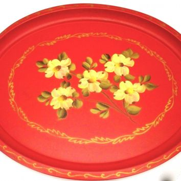 Vintage Tole Painted Tray Large & Red 1950s