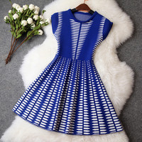 Knitted Dress in Blue and White