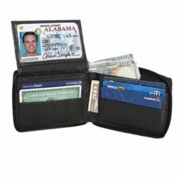 Flip ID Zipped Soft Leather Bifold Wallet