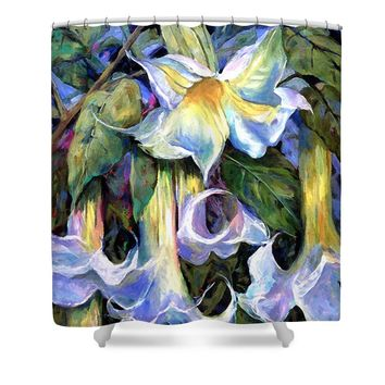 Angel's Trumpets - Floral Art By Betty Cummings Shower Curtain