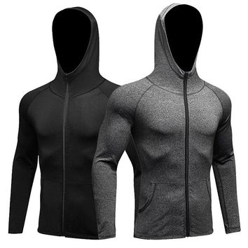 Mens winter sport coat fitness training Exercise Jacket run zipper hoodie coat dry wind speed Jacket Pure Color YEL