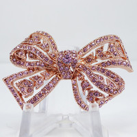 Kenneth Jay Lane Pink Rhinestone Bow Brooch Breast Cancer Awareness Support Rose Gold Tone Pin Modern Signed KJL Gift for Her Ribbon Jewelry