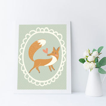 Kawaii Fox Art Print, Woodland Nursery Printable, Instant Download, Kids Room Wall Art, Fox Decor