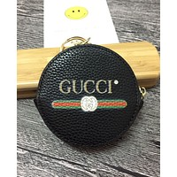 GUCCI Fashion Women Men Round Leather Zipper Key Pouch Wallet Coin Purse Black I-MYJSY-BB