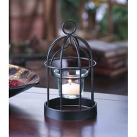 Charming Iron Birdcage Candle Holder