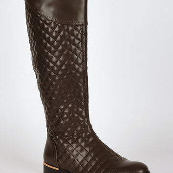 Quilted Leatherette Low Heel Calf Boots