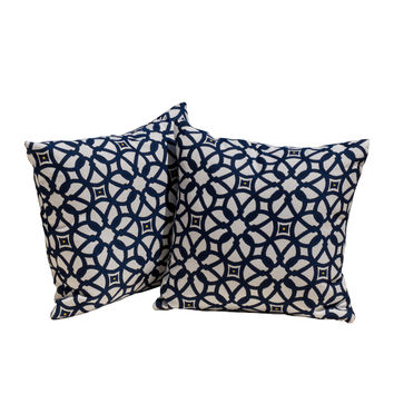 sunbrella Luxe Indigo Throw Pillows
