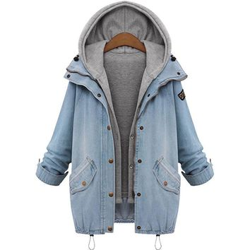 Women Casual Knitted  Jean Jacket Two Piece Set Denim Jacket Hooded Plus Size Oversized Casual Women Coat Outwear