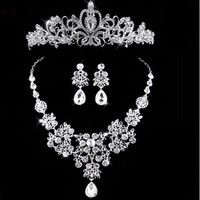 2016 New Silver Crystal Necklace Earrings for Women Wedding Jewelry Sets Whit K Plated Bridal Jewelry Sets With Tiaras & Crowns