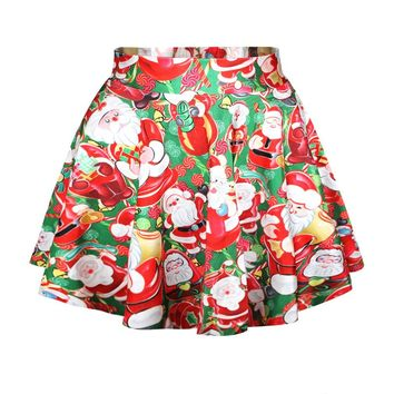 Ninimour- Holiday Season Christmas Santa Xmas Print Mini Tutu Skirt (Santa Teddy)