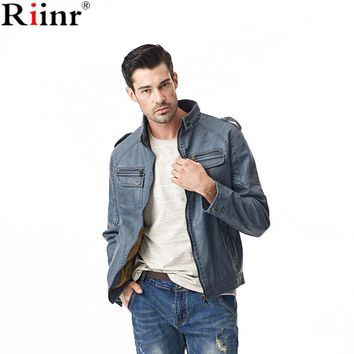 Fashion New Arrival Jackets Men High Quality Autumn Winter Motorcycle Casual PU Leather Solid Color