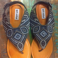 Not Rated Mariachi Beaded Sandals Black