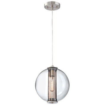 Philips 190155836 Cosmos Satin Nickel One-Light Incandescent Pendant with Clear Blown Outer Globe with seedy Smoky Inner Glass Cylinder