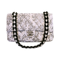 Rare Chanel Black & White Filagree Velvet Double Flap Classic