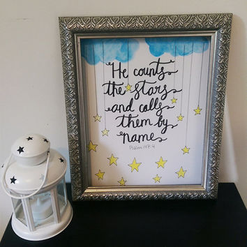 He Counts the Stars and Calls them by Name Wall Art Watercolor Print
