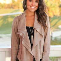Mocha Suede Jacket with Zipper Detail