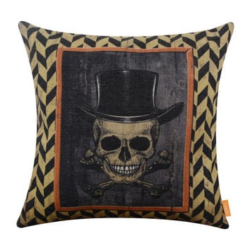 LINKWELL 45x45cm Retro Happy Halloween Day Sugar Skull Mexican Day of the Dead Season Decor Home Pillowcase Burlap Cushion Cover