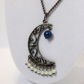 CLEARANCE - Gunmetal Gray Beaded Moon Pendant with Royal Blue and White Faux Pearls - Handmade Jewelry - Metal Chain Pendant - Ready to Ship