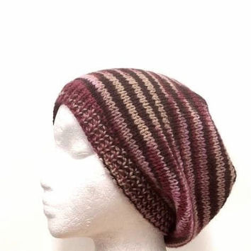 Knitted wool beanie pink variegated color    4300