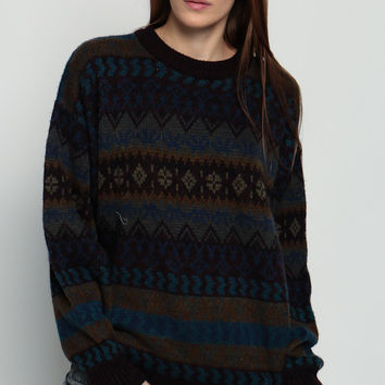 Geometric Sweater Knit Striped Nordic Norwegian 80s Grunge Pullover Retro 1980s Slouchy Vintage Hipster Statement Brown Blue Large