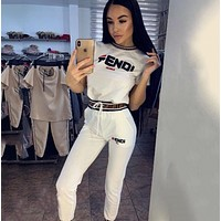 FENDI Women Short Sleeve Top Pants Two-Piece White