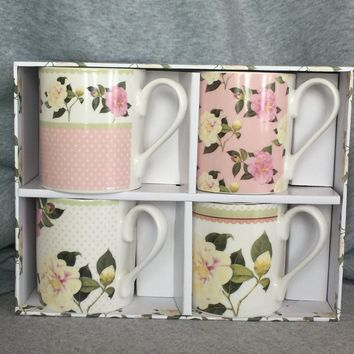 "Queens by Churchill John Reeves ""Camellias"" Set of 4 Fine China Mugs"
