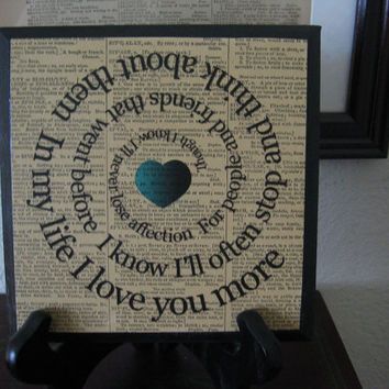 The Beatles Music Print  Art Block -  In My Life Spiral Song Lyric - Wood Plaque