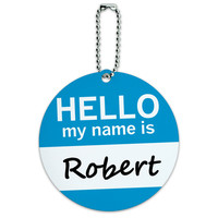 Robert Hello My Name Is Round ID Card Luggage Tag