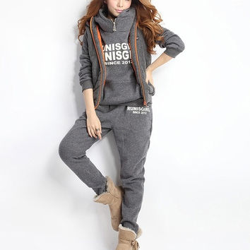 Ladie Sports Suit Tracksuit Hoodie Hooded sweater + vest + pant TOP Fashion Casual Set