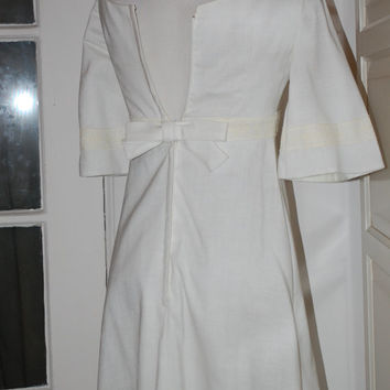 60s Dress, Mod, Wedding, White, Gown, Bridal, Mint Condition - XS/XXS