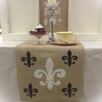 """Burlap Table Runner 12"""", 14"""", & 15"""" wide with a Fleur de Lis pattern on the both ends"""